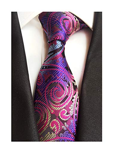 Men's Silk Purple Ties Paisley Pattern 3.15