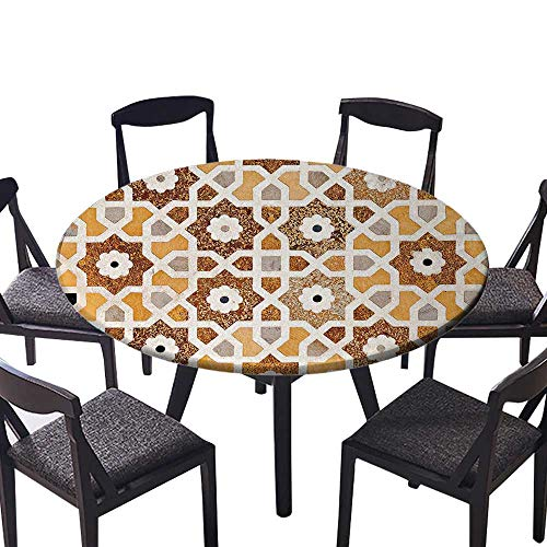 - Round Table Tablecloth Detail of Inlay and Geometric Carvings Taj Mahal Tomb Architecture Design Cream Machine Washable 40