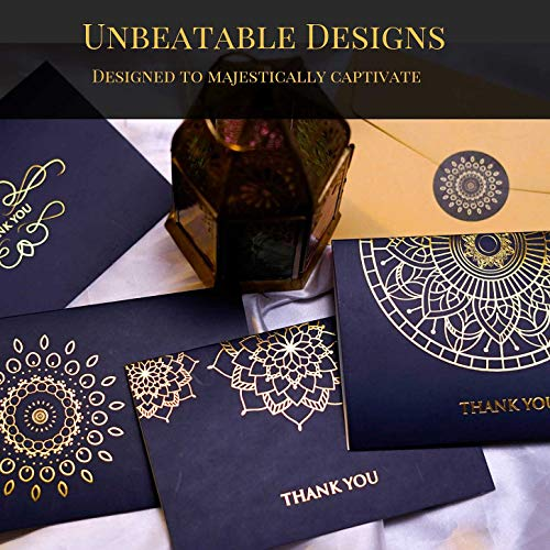 120 Floral Thank You Cards -12 Designs Gold Foil on Black White and Blue, Blank Inside Papyrus Note Card with Envelopes, Bulk Business Notes for Wedding Bridal Baby Shower Photo #6