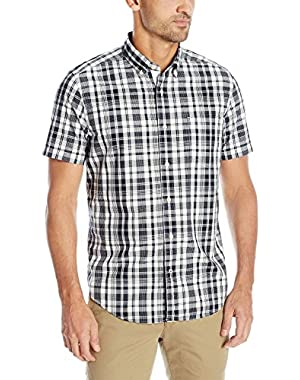 Men's True Navy Plaid Short Sleeve Shirt