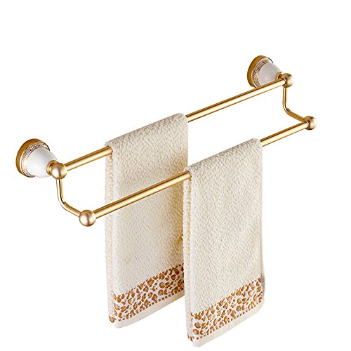 Personalised Ceramic - Ceramic Phnom Penh carved towel rack, golden single pole towel rod, double arm space aluminum towel rack, European style 60 cm,Double bar,60cm,