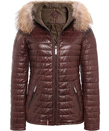 Oakwood Mujeres Happy Fur Trimmed Down Leather Jacket Rojo Rojo