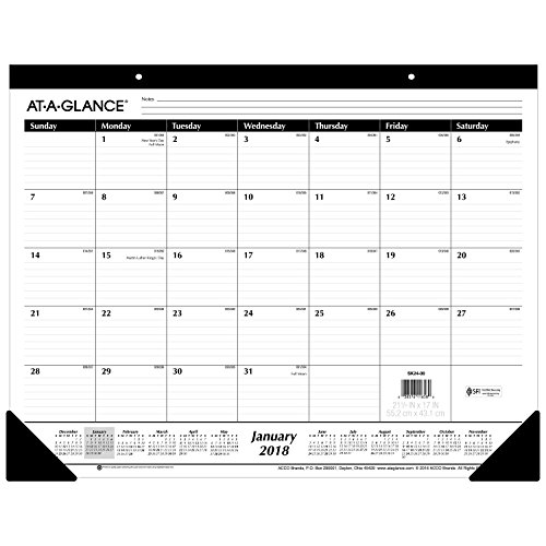AT-A-GLANCE Monthly Desk Pad Calendar, Ruled Blocks, January 2018 - December 2018, 22