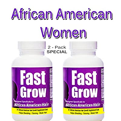 Fast Grow Ethnic Hair Growth Vitamins (2 Bottles) for Faster Growing Hair