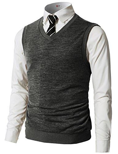 H2H Men's Heather Diamond-Texture Stitch V-Neck Vest Charcoal US L/Asia XL (CMOV042) (Stitch V-neck Cardigan)