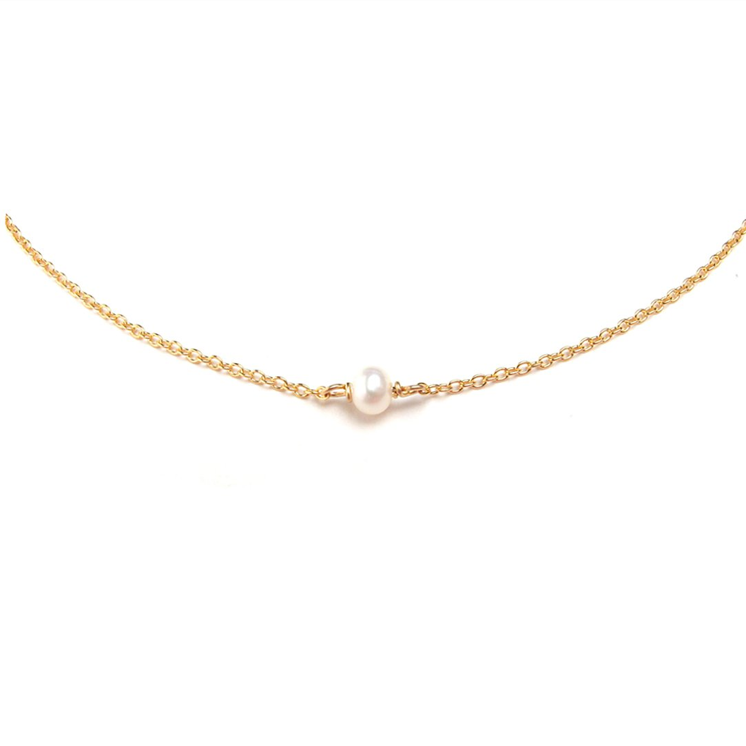 BENIQUE Dainty Necklace Choker for Women - Freshwater Cultured Pearl, Fine Chain for Layering, AAA Cubic Zirconia Drop, 14K Gold Filled, Made in USA, 13''+3'' Adjustable Ext. (Tiny Single Pearl) by BENIQUE (Image #1)