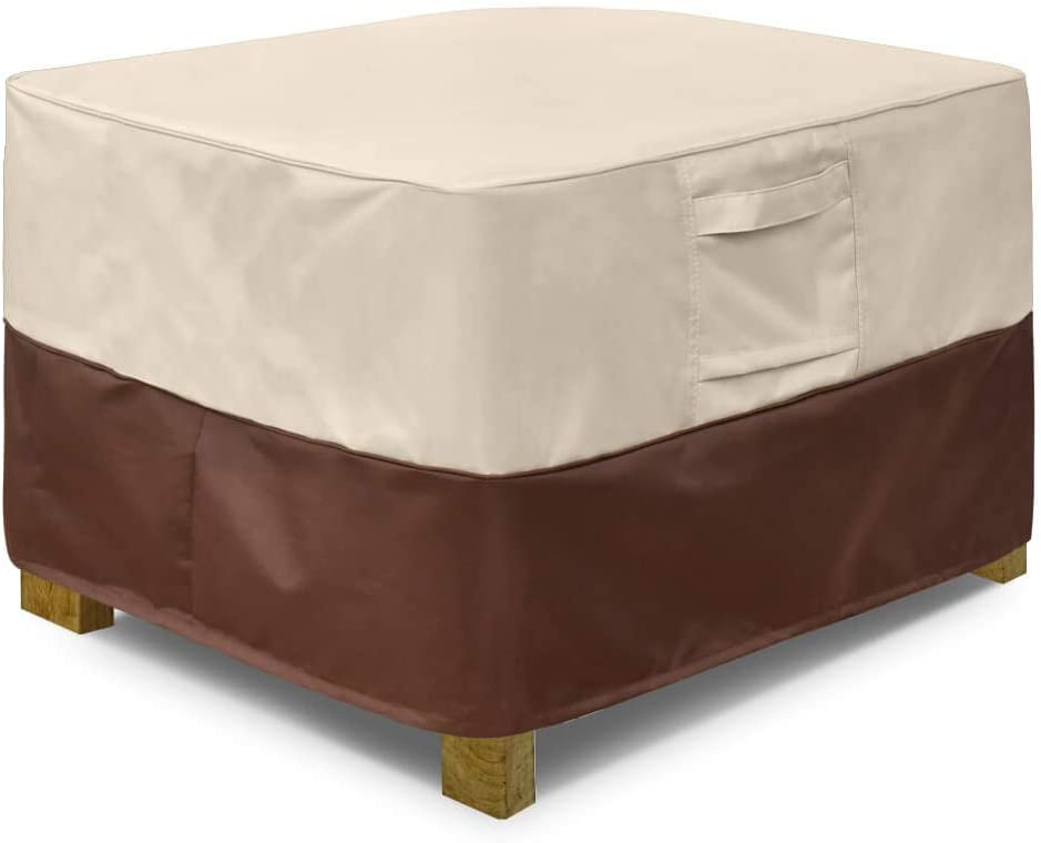 Vailge Square Patio Ottoman Cover, Waterproof Outdoor Ottoman Cover with Padded Handles, Patio Side Table Cover, Heavy Duty Outdoor Furniture Cover(Small,Beige&Brown)