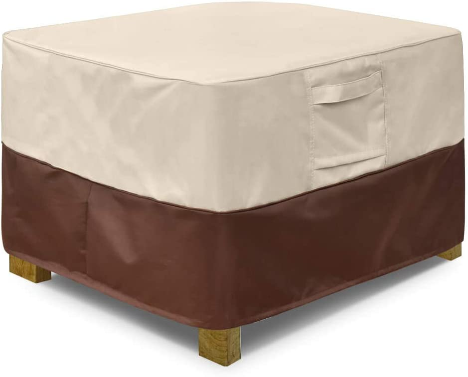 Vailge Square Patio Ottoman Cover, Waterproof Outdoor Ottoman Cover with Padded Handles, Patio Side Table Cover, Heavy Duty Outdoor Furniture Covers(Medium,Beige&Brown)