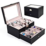 Generic LQ..8..LQ..1166..LQ Display Display Case lot Lea Leather Watch Box Org Organizer Glass Top er Glas Large 20 Slot elry Storag Jewelry Storage US6-LQ-16Apr15-3073