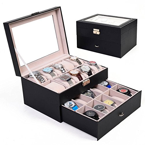 large-20-slots-leather-watch-display-case-box-jewelry-storage-organizer-glass-top