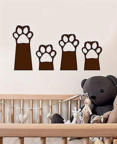 Animal Wall Vinyl Art Decals - Cat Kitten Paws Foot Prints Stickers for Kids Nursery Room Bedroom Playroom Home - Nature Wild Life Decor AN066 ()