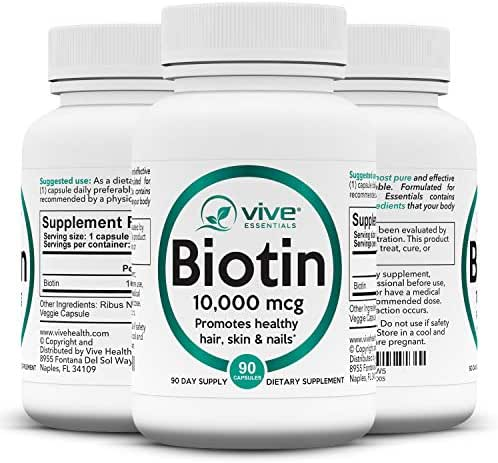 Vive Essentials Biotin 10000mcg (3 Month Supply) - B7 Hair Pills Growth Vitamin - Natural Pure High Potency Supplement for Men & Women Nails, Skin, Facial Nutrition - Max Absorption Veggie Capsule