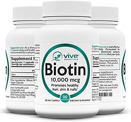 Vive Essentials Biotin 10000mcg (3 Month Supply) - B7 Hair Pills Growth Vitamin - Natural Pure High Potency Supplement for Men & Women Nails, Skin, Facial Nutrition - Max Absorption Veggie Capsule