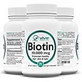 Vive Essentials Biotin for Hair Growth (3 Month Supply) - 10000mcg B7 Thinning Hair Vitamin - Natural Pure Supplement for Men, Women Nails, Skin, Facial Nutrition - Max Absorption Veggie Capsule