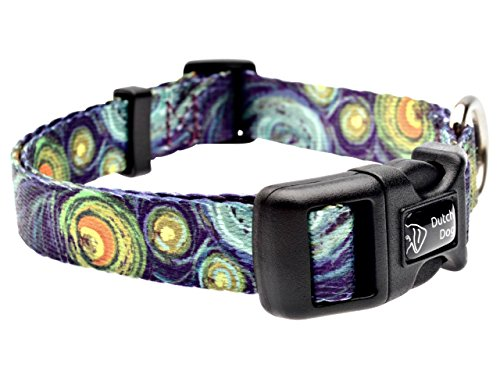 Dutch Dog Amsterdam Eco Friendly Van Gogh Dog Collar, 10-15-Inch, Small