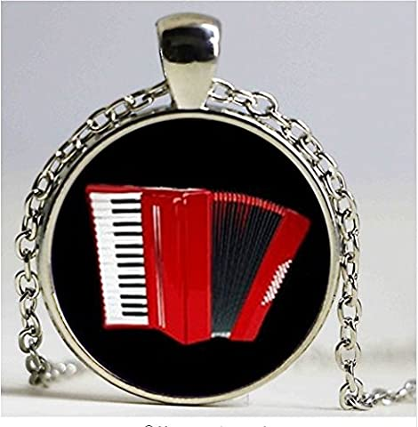 Vintage elegant Red accordion pattern key chain popular musical instrument keychain jewelry musician music fans (Elegant Music Rings)