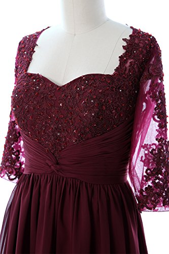 MACloth Women Half Sleeves Mother of Bride Dress Midi Cocktail Party Formal Gown Fuchsia
