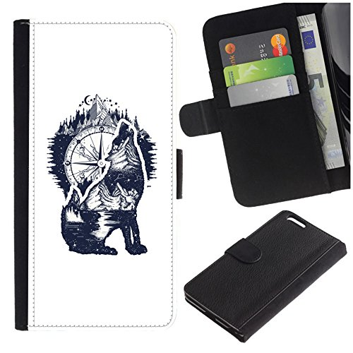 [Howling Wolf and Compass] for Samsung Galaxy S8 Active, Flip Leather Wallet Holsters Pouch Skin Case