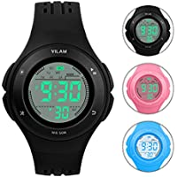Kids Watch Waterproof Children Electronic Watch - Lighting Watch 50M Waterproof for Outdoor Sports,LED Digital Stopwatch with Chronograph, Alarm, Child Wrist Watch for Boys, Girls - PerSuper (Black)