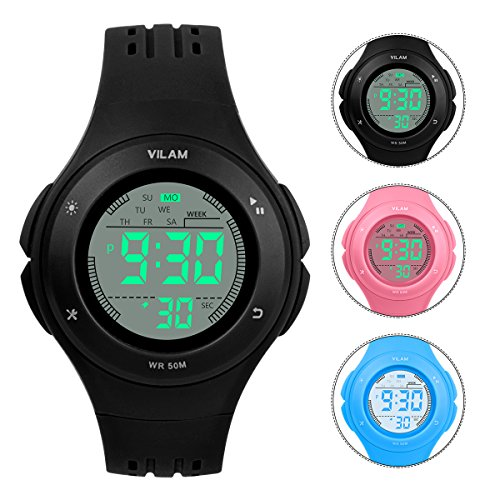Chronograph Alarm Black Watch (Kids Watch Waterproof Children Electronic Watch - Lighting Watch 50M Waterproof for Outdoor Sports,LED Digital Stopwatch with Chronograph, Alarm, Child Wrist Watch for Boys, Girls - PerSuper (Black))