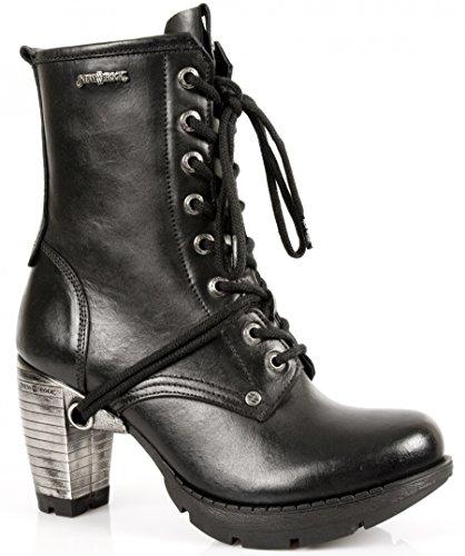 NEWROCK New Rock M.TR001-S1 Stivali stringati in pelle nera