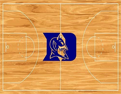 Duke University Blue Devils Logo NCAA Basketball Court Background Edible Cake Topper Image ABPID01495 - 1/4 ()