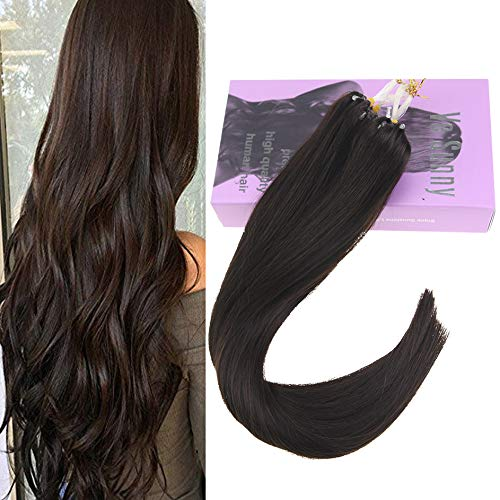 VeSunny 14inch Micro Ring Hair Extensions Human Hair #2 Darkest Brown Brazilian Micro Loop Rings Human Hair Extensions Remy Straight Hair 1G/S 50G/Pack