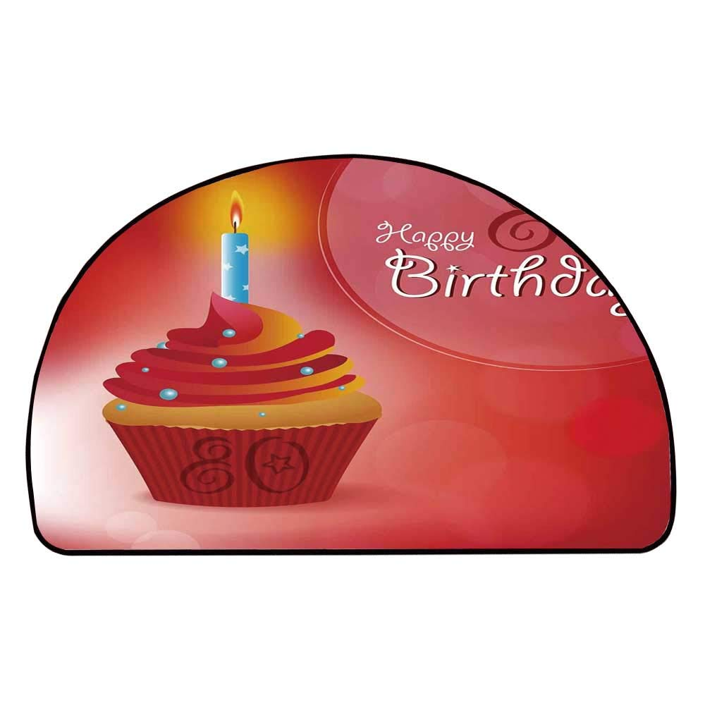 C COABALLA 80th Birthday Decorations Comfortable Semicircle Mat,Birthday Party Cupcake with Candle and Sunbeams Image for Living Room,31.4'' H x 62.9'' L