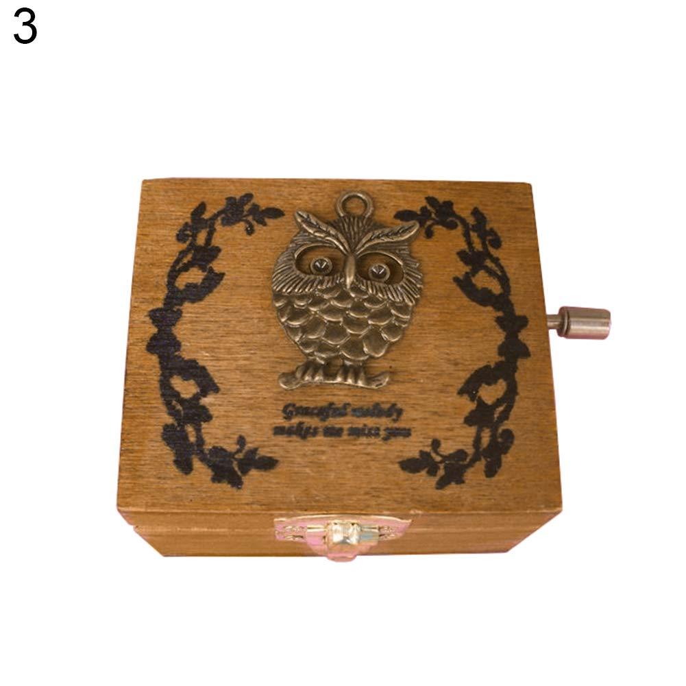 Terzsl Music Player Mini Vintage manovella Carillon in Legno di Natale, Compleanno Decorazione–1# 3# Compleanno Decorazione-1# 3#