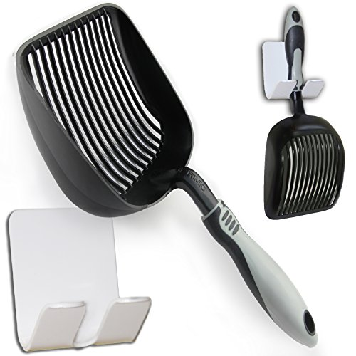 "Sifter with Deep Shovel - Designed by Cat Owners - Non Stick Plated, Solid Aluminum. ""Perfect Scooper"" with Holder. Super Solid Handle. By iPrimio. Patented. Black"