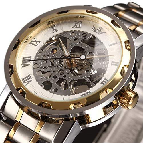 Luxury Skeleton Watch - Watch,Mens Watch,Luxury Classic Skeleton Mechanical Stainless Steel Watch with Link Bracelet,Dress Automatic Wrist Hand-Wind Watch (whitegold)