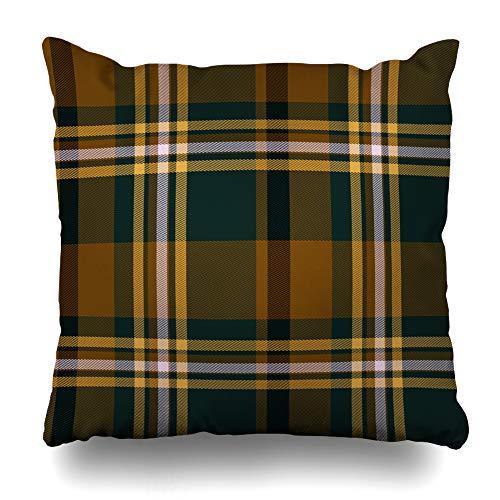 (HomeOutlet Throw Pillow Cover Scottish Brown Green Tartan Plaid Vintage Checkered Clan Pattern Heritage Design Stripes Pillowcase Square Size 20 x 20 Inches Home Decor Sofa Cushion Case)