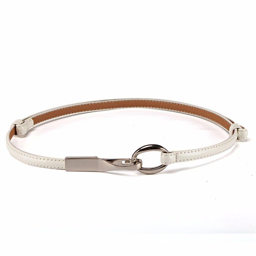 NSSBZZ Birthday gifts A fine leather belt female fashion leisure belt narrow summer decoration crony,white