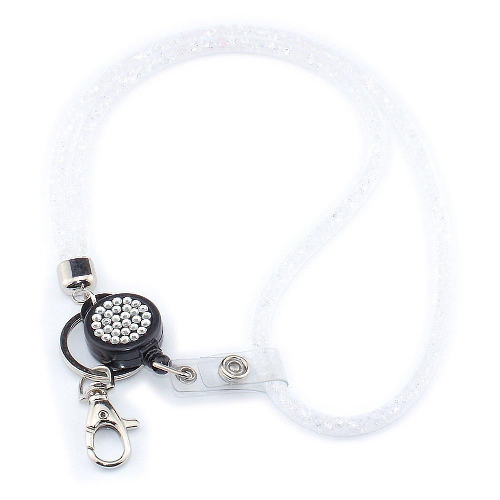 ID Card Holder Lanyard, SAVORI 32.9 Bling Crystal Breakaway Safety Clasp Lanyard Strap with Retractable Badge Holder (Grey - 1 Pack, Retractable Badge) SV-GS-Parent