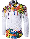 Whatlees Mens Geek Psychedelic Splash-ink Printed Slim Fit Long Sleeve Dress Shirts, T404, Asian XL(US M)