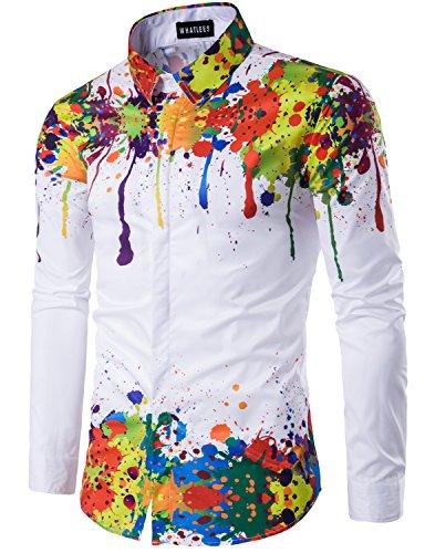 Whatlees Mens Geek Psychedelic Splash-ink Printed Slim Fit Long Sleeve Dress Shirts, T404, Asian XXL(US L) (Dress Hip Hop)