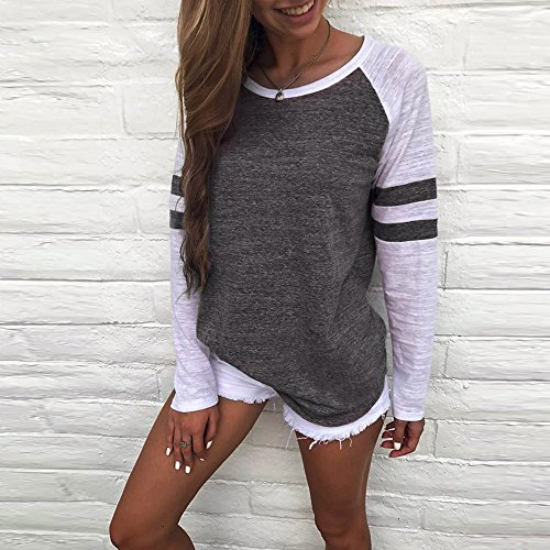 Rayure Pullover T Chic Lache Shirts Casual Solike Rond Shirt Longues Tops Blouse Manches Col Femme Gris Chemise qAd8w6