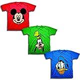 Disney Toddler Boys' Mickey, Goofy, Donald 3-Pack T-Shirts, Red/Kelly/Royal, 2T