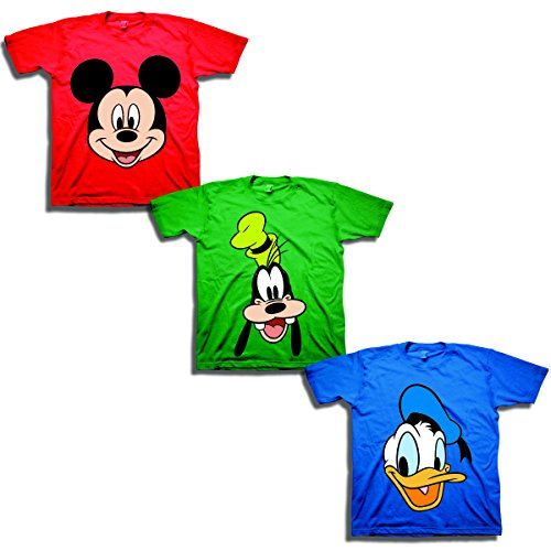 Disney Boys' Toddler Mickey, Goofy, Donald 3-Pack T-Shirts, red/Kelly/Royal, 3T