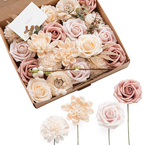 Ling's moment Netural Dusty Rose Artificial Flowers Combo for DIY Wedding Bouquets Centerpieces Arrangements Party Baby Shower Home -