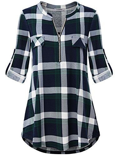 Casual Tops for Women, Misses Career Clothes Comfy Henley V Neck 3/4 Rolled Sleeve Contemporary Designer Blosues Pretty Utility Checker Pattern Printed Trapeze Tunic Shirt Green L