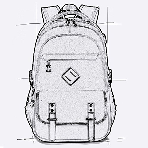 Rucksack mit USB Ladeanschluss, Marsoul 15 Zoll Business Laptop Schulrucksack (Grau) 8080schwarz