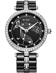 BUREI Womens Dress Luxury Watch Wirstwatch with Black Ceramic Bracelet and Silver Diamond Crystals Case(black...