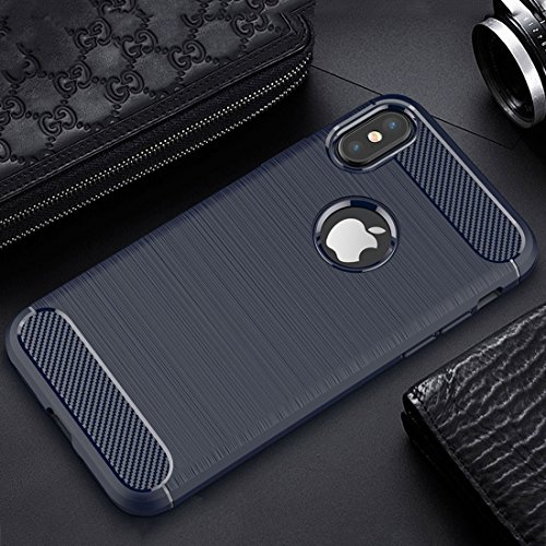 Tuff-Luv Gebürsteter Carbon-Faser-Art TPU schützender shockproof rückseitiger Abdeckungs-Fall für Apple iPhone 8 - Blau