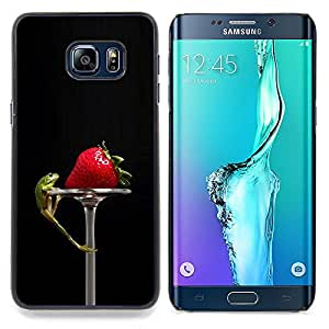 "For Samsung Galaxy S6 Edge Plus / S6 Edge+ G928 , S-type Divertido Tasty Fresa y Lizzard"" - Arte & diseño plástico duro Fundas Cover Cubre Hard Case Cover"