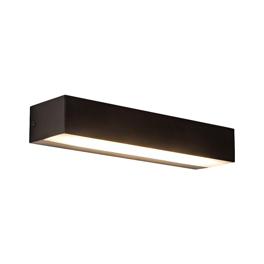 JJJJD LED Bad Lampe Spiegel Scheinwerfer Badezimmer Wandleuchte Make-up Lampe, Aluminium + Acryl Matt Schwarz (Farbe   weißes Licht)