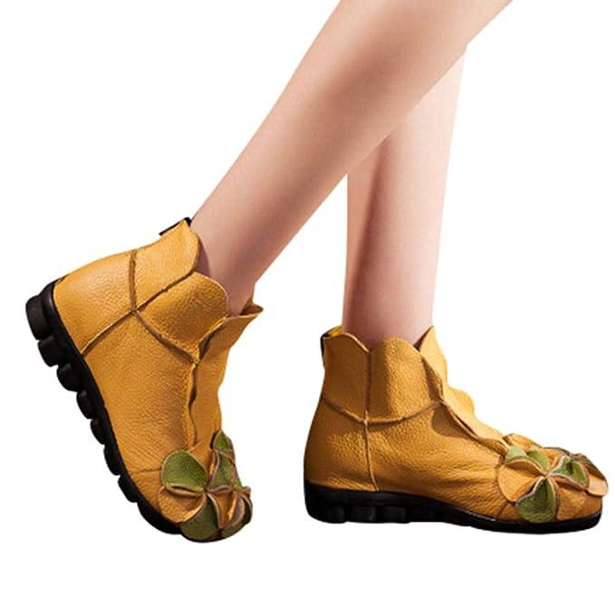LILICAT❋ Moda otoño e Invierno Hecho a Mano con Fondo Suave Costuras cómodas Botines de Flores, Flores Cosidas a Mano Zapatos Estilo étnico Botas Martin ...