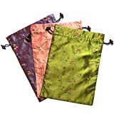 Elesa Miracle Embroidered Silk Jacquard Travel Bag, Lingerie & Shoes Bag, 3 Packs, Purple, Green, Pink