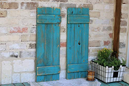 Turquoise Farmhouse Shutters (Wall For Decorative Shutters Decor)