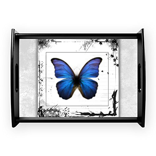 Large Serving Tray Blue Butterfly Still Life -